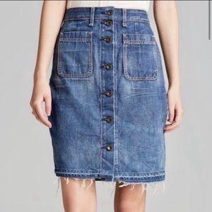Rag & Bone Jean skirt frayed hem